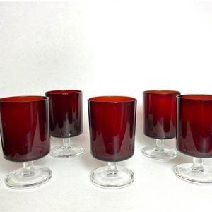 Vintage 1970s red wine glass set